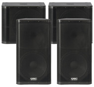 "2 x QSC KW152 1000W 15"" PA Speakers and 2 x QSC KW181 1000W 18"" Subwoofers (200 People)"