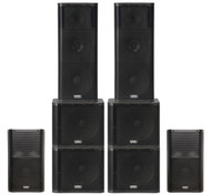 "2 x QSC KW153 1000W 15"" 3-way PA Speakers, 2 x QSC K12 1000W 12"" Speakers and 4 x QSC KW181 1000W 18"" Subwoofers (500 People)"