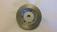 "4"" Threaded Continuous Rim Diamond Cup Wheel. (Great for smoothing of edges in the concrete polishing process.)"