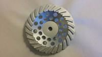 """24 Premium Segmented Diamond Cup Wheel (7"""" x 5/8-11 High Hub Threaded) Less aggressive cut than 12 seg."""