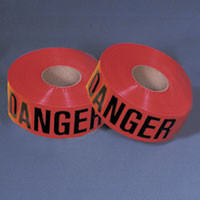 "red ""Danger"" tape features bold black letting with the word ""Danger"" printed along it."