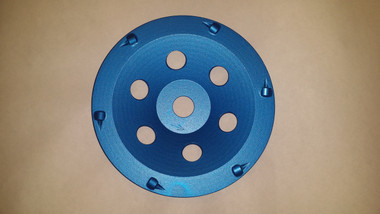 """6 segment PCD  Cup Wheel(great for removal of heavy epoxy, coatings, mastic, glues or even fast stock removal of concrete.) Also available in 5""""."""
