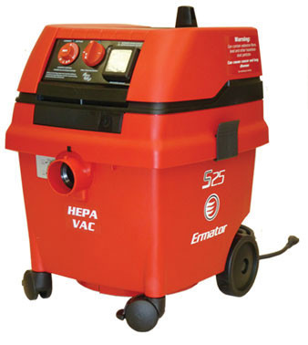 S25 Wet/Dry HEPA Vacuum with power tool outlet. S25 Wet/Dry HEPA Vacuum  CFM	129 HP	1.7 Amp	9,8/4.9 Volt	120/230 Water lift	100 Weight	36 lbs