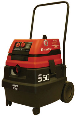S50 Wet/Dry HEPA vacuum with power tool outlet.   S50 Wet/Dry HEPA vacuum Specifications CFM	129 HP	1.7 Amp	9,8/4.9 Volt	120/230 Water lift	100