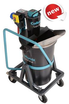 Collomix LevMix 65 mobile mixer. The LevMix 65 unites three steps in one operation: mixing, transporting and pouring.