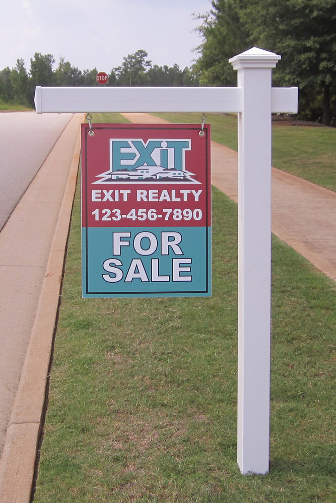 vinyl real estate post removable stake pvc yard sign