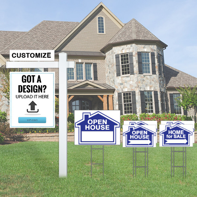 """Blue Deluxe Upload Your Own Design Kit - (1) 30Tx 24W Hanging Sign, (1) 18Tx24W Open House Yard Sign  (2) 12Tx18W Open House and (2)Home for Sale Directional - Real Estate Post 6' Tall 36"""" Arm - Flat Cap"""
