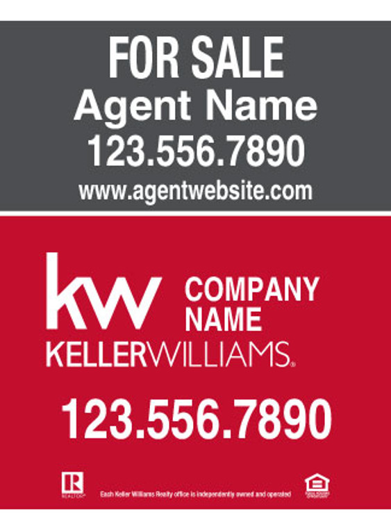 Keller Williams Hanging Sign - Gray & Red – 30T X 24W