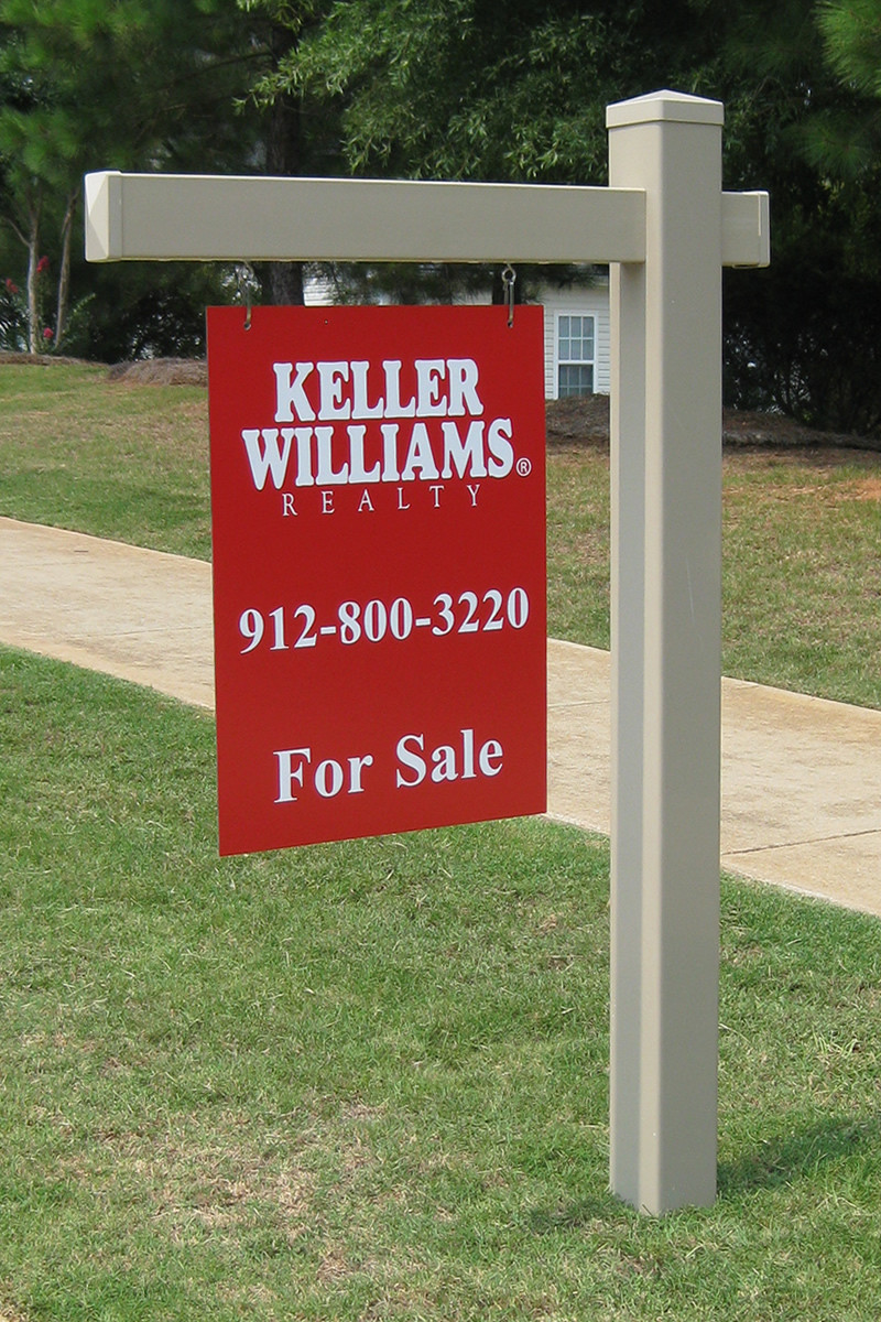 khaki sandstone vinyl real estate post sign post