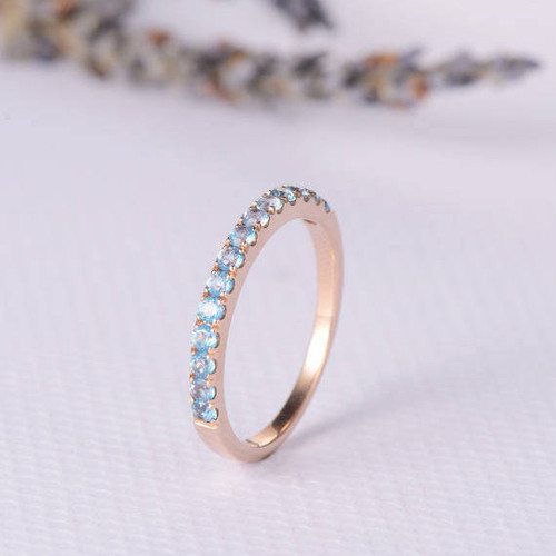 Blue Topaz Wedding Band Birthstone Vogue Gem