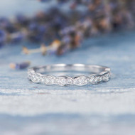 White Gold Women Diamond Band Half Eternity