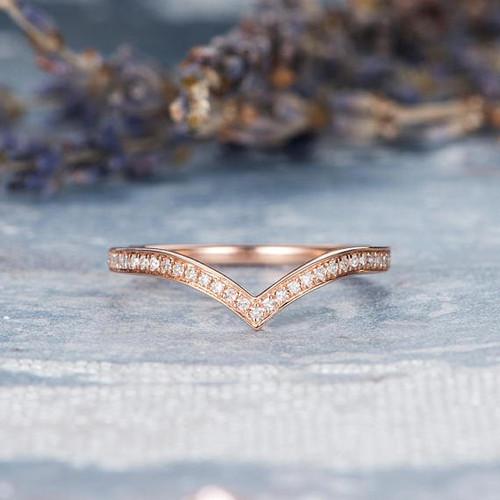 Rose Gold Wedding Band Women V Shaped Ring Vogue Gem