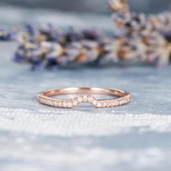 Thin Dainty Half Halo Curved Wedding Bridal Ring