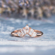 Unique Rose Gold  Band Pear Shaped