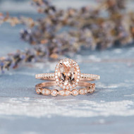 Oval Cut Morganite Bridal Set Wedding Rig Set