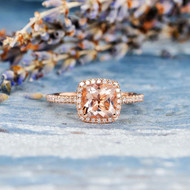 Cushion Cut Bridal Wedding Morganite Ring