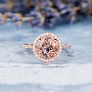 Morganite Engagement Ring Diamond Halo Ring