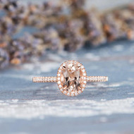 Oval Cut Halo Rose Gold Morganite Ring