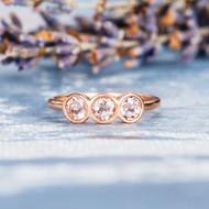 Three Stone Rose Gold Morganite Engagement Ring