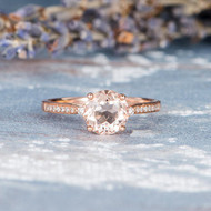Antique Morganite Engagement Rose Gold Wedding