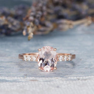 Pink Morganite Ring Oval Cut Engagement Ring