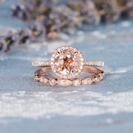 Morganite Rose Gold Engagement Ring Set