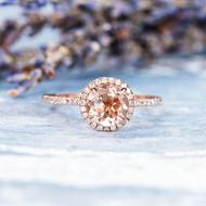 Rose Gold Engagement Ring Morganite Ring