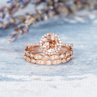 Peachy Morganite Engagement Ring Wedding Band Set
