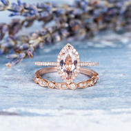 Marquise Morganite Ring Set Engagement Ring Set