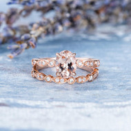 Oval Cut Morganite Bridal Set Wedding Ring Set