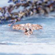Oval Cut Rose Gold Engagement Ring Anniversary