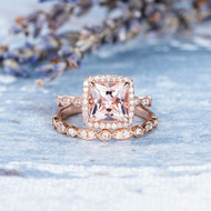 Princess Cut Morganite Engagement Ring Set