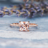 Unique Diamond Princess Cut Morganite Ring