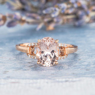 Bridal Ring Oval Cut Morganite Engagement Ring