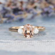 Morganite Engagement Ring Gold Moissanite Ring