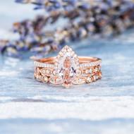 Marquise Engagement Ring Morganite Ring Set