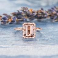 Diamond Halo Emerald Cut Engagement Ring