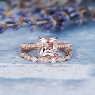 Art Deco Wedding Ring Set Princess Cut Morganite Set