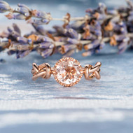 Solitaire Wedding Morganite Ring Engagement Ring