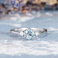 Three Stone Aquamarine Engagement Ring