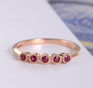 Ruby Ring Rose Gold Women Bridal Ring