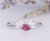 Antique Cluster Ring Marquise Ruby Ring