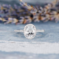 Oval Cut White Topaz Engagement Ring