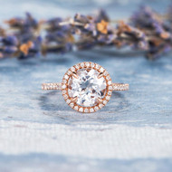 Unique White Topaz Engagement Wedding Ring