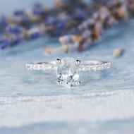 Oval Cut EngagementWhite Sapphire Ring