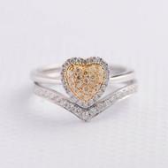 Chevron  Yellow Diamond Wedding Ring Set