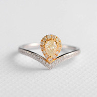 Pear Cut Yellow Diamond Ring  Engagement Ring