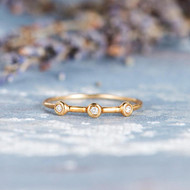 Unique Simple Diamond Stacking Wedding Ring