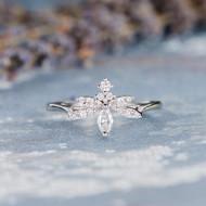 Marquise Unique Diamond Engagement Ring