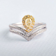 Yellow Diamond Pear Cut Unique Bridal Set